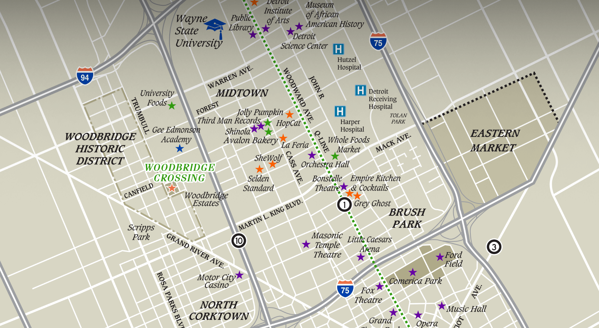 A Map of Midtown Detroit